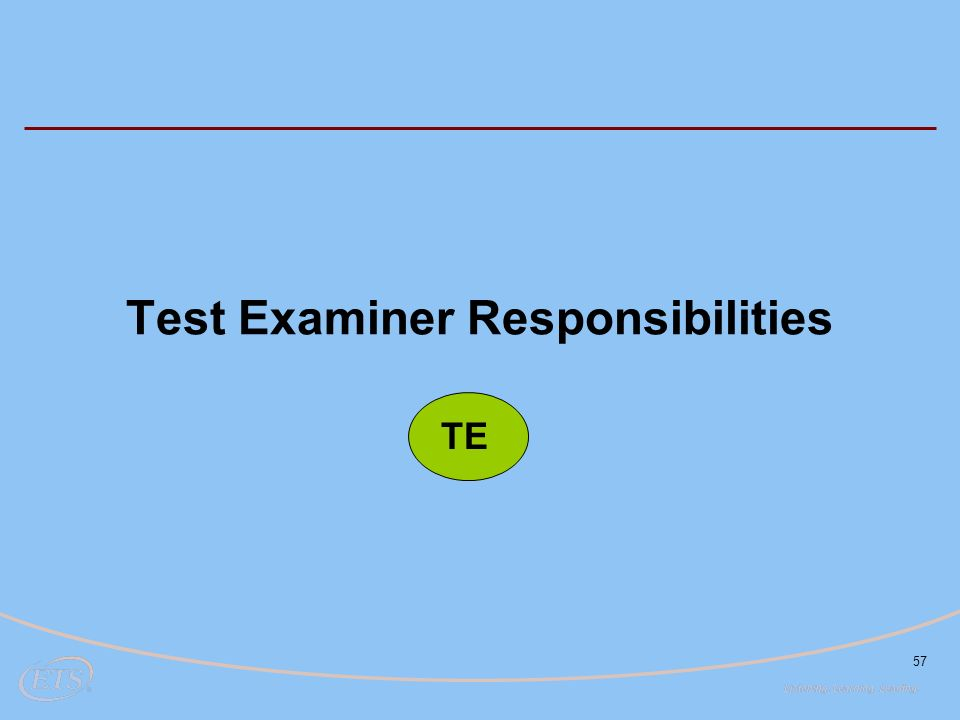 57 Test Examiner Responsibilities TE