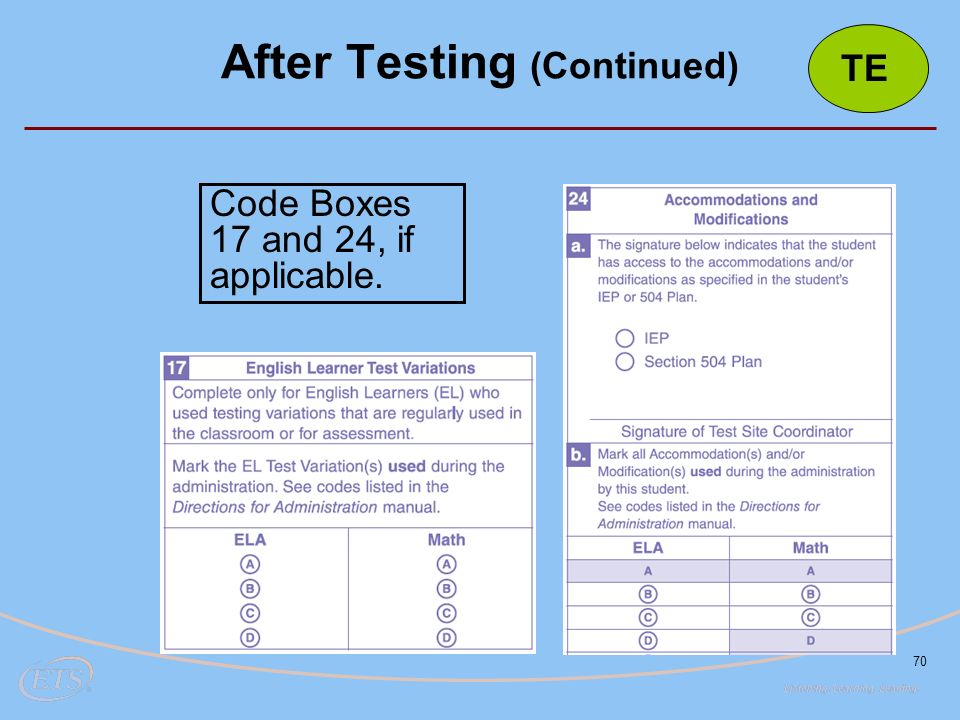 70 After Testing (Continued) Code Boxes 17 and 24, if applicable. TE