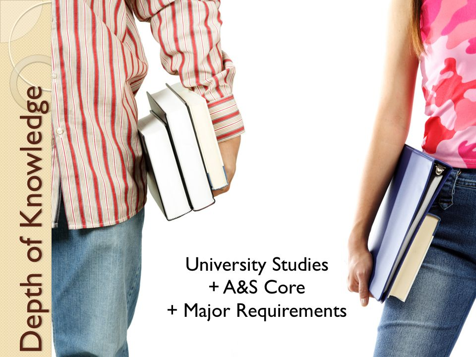 Depth of Knowledge University Studies + A&S Core + Major Requirements