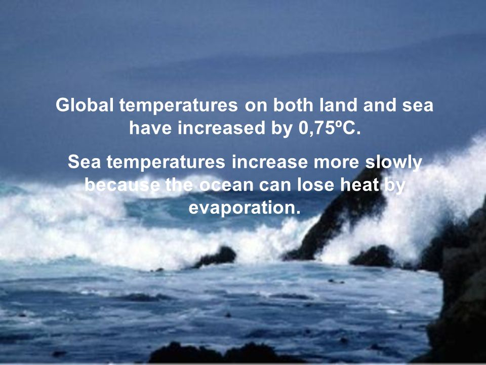 Global temperatures on both land and sea have increased by 0,75ºC.