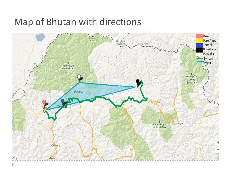 Map of Bhutan with directions