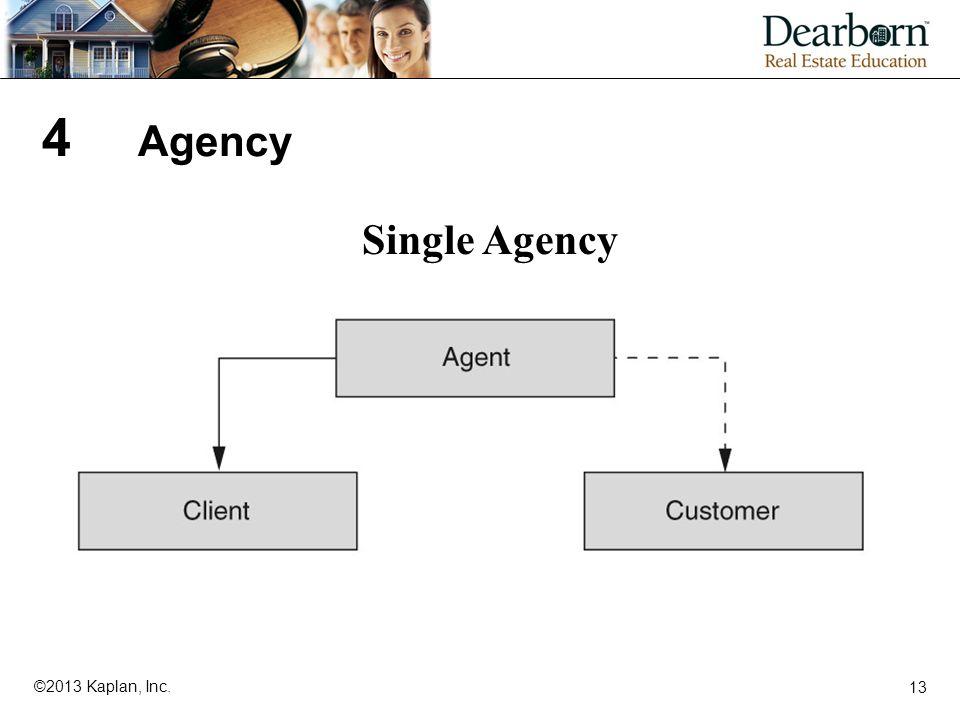 13 ©2013 Kaplan, Inc. 4 Agency Single Agency