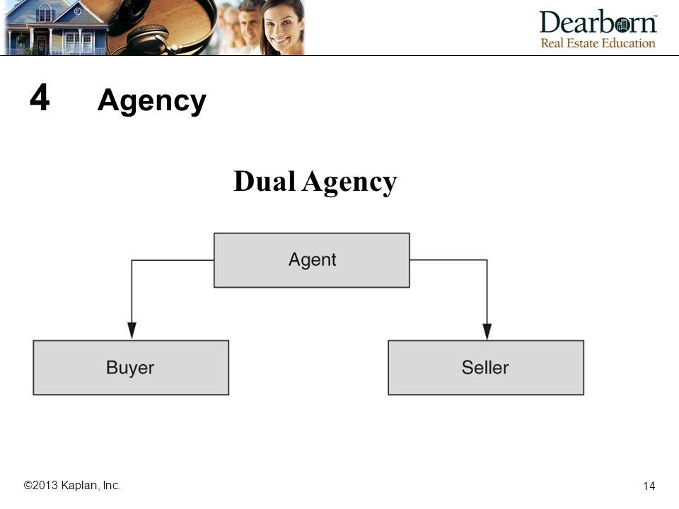 14 ©2013 Kaplan, Inc. 4 Agency Dual Agency