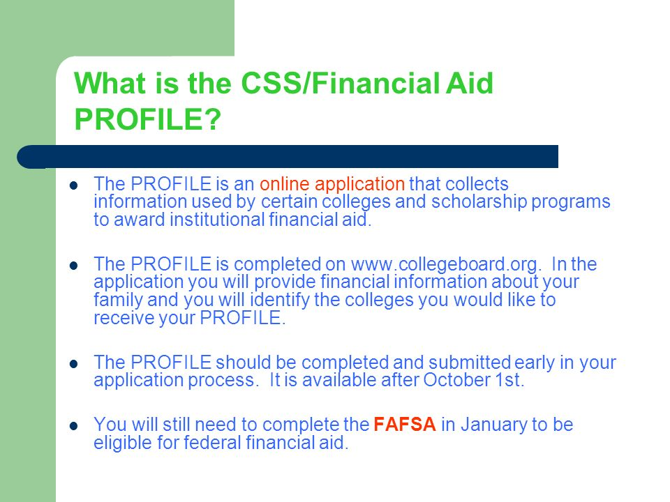 The CSS Financial Aid PROFILE For Private Colleges and ...