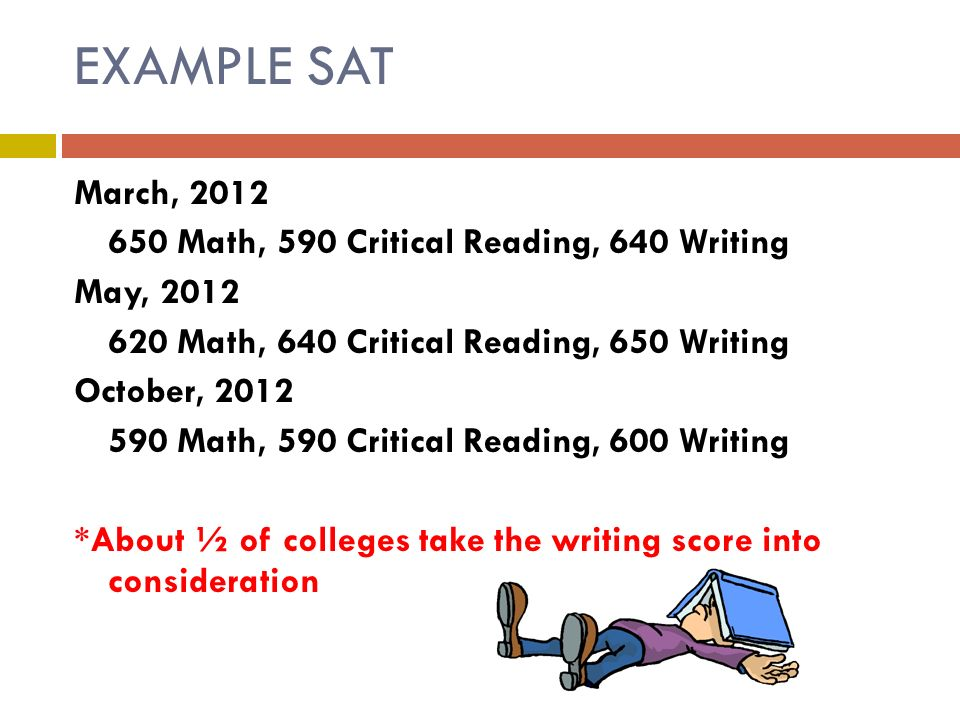EXAMPLE SAT March, Math, 590 Critical Reading, 640 Writing May, Math, 640 Critical Reading, 650 Writing October, Math, 590 Critical Reading, 600 Writing *About ½ of colleges take the writing score into consideration