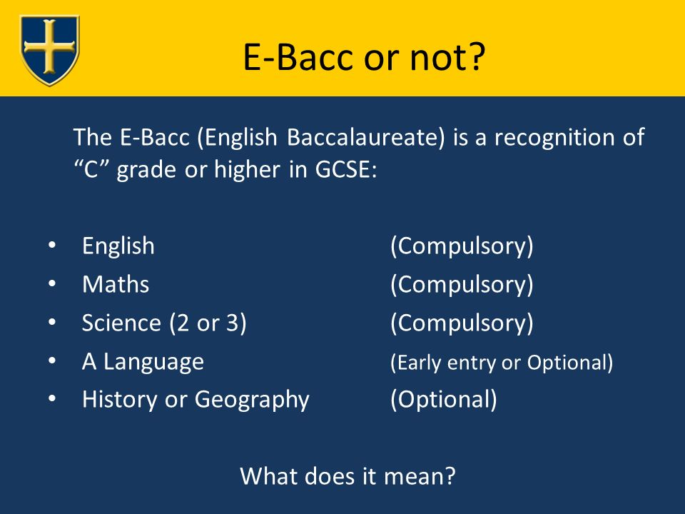 E-Bacc or not.