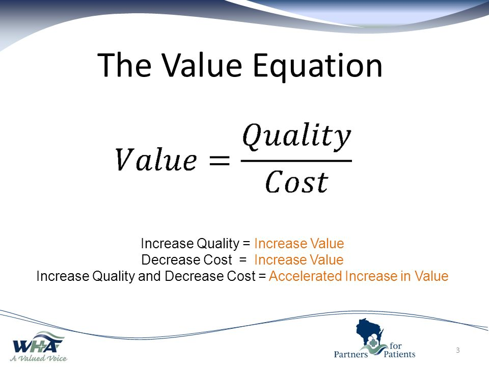The Value Equation 3 Increase Quality = Increase Value Decrease Cost = Increase Value Increase Quality and Decrease Cost = Accelerated Increase in Value