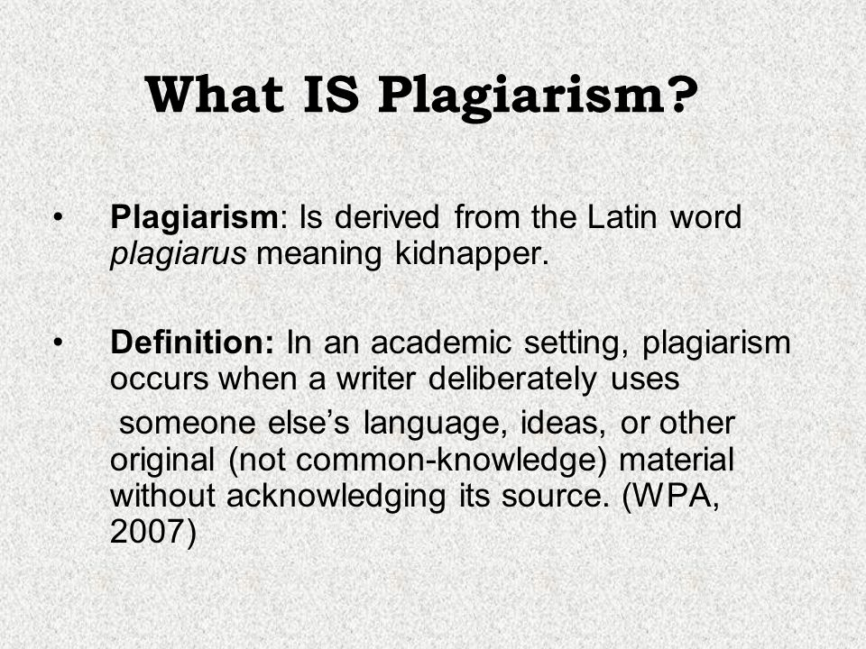 Plagiarism in academic writing