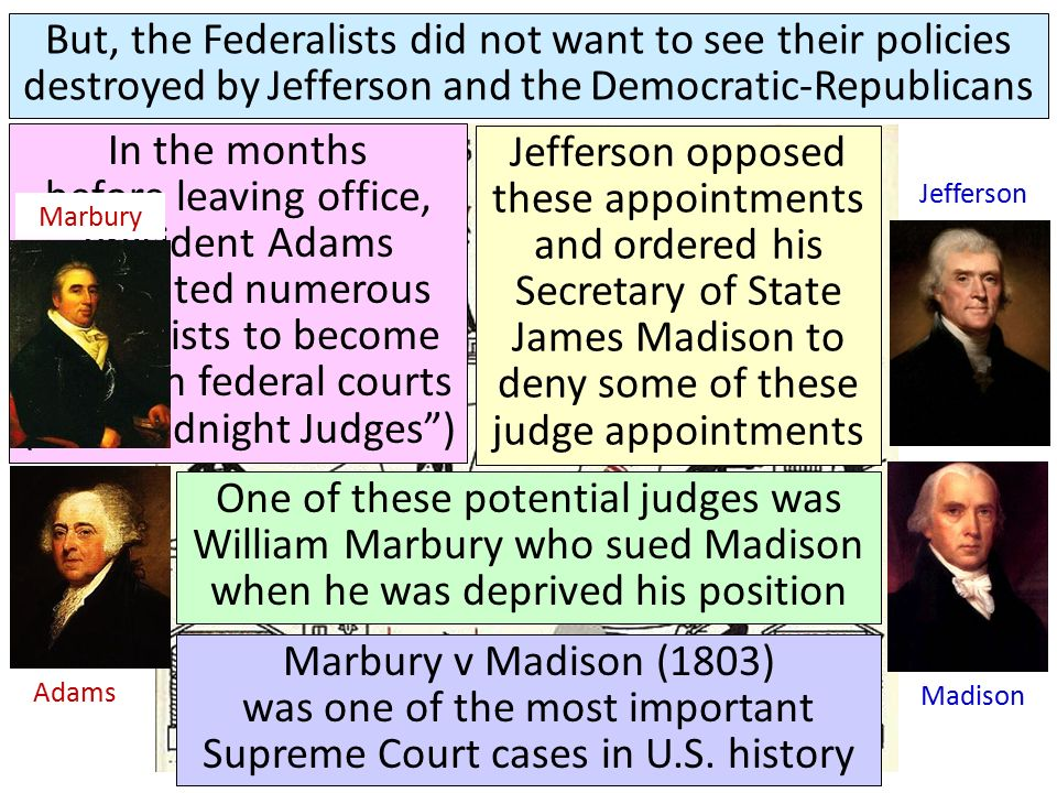 Hamilton Adams Jefferson Madison But, the Federalists did not want to see their policies destroyed by Jefferson and the Democratic-Republicans In the months before leaving office, President Adams appointed numerous Federalists to become judges in federal courts (the Midnight Judges ) Jefferson opposed these appointments and ordered his Secretary of State James Madison to deny some of these judge appointments One of these potential judges was William Marbury who sued Madison when he was deprived his position Marbury Marbury v Madison (1803) was one of the most important Supreme Court cases in U.S.