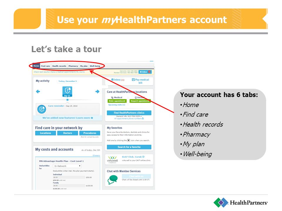 Use your myHealthPartners account Let's take a tour Your account has 6 tabs: Home Find care Health records Pharmacy My plan Well-being