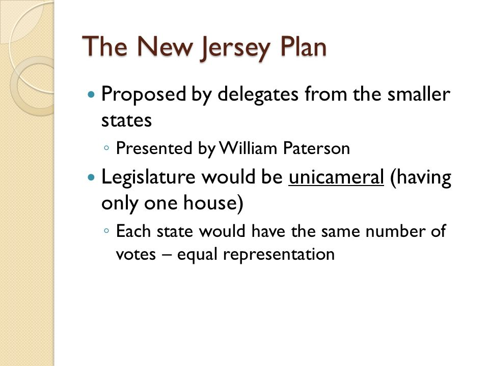 The New Jersey Plan Proposed by delegates from the smaller states ◦ Presented by William Paterson Legislature would be unicameral (having only one house) ◦ Each state would have the same number of votes – equal representation