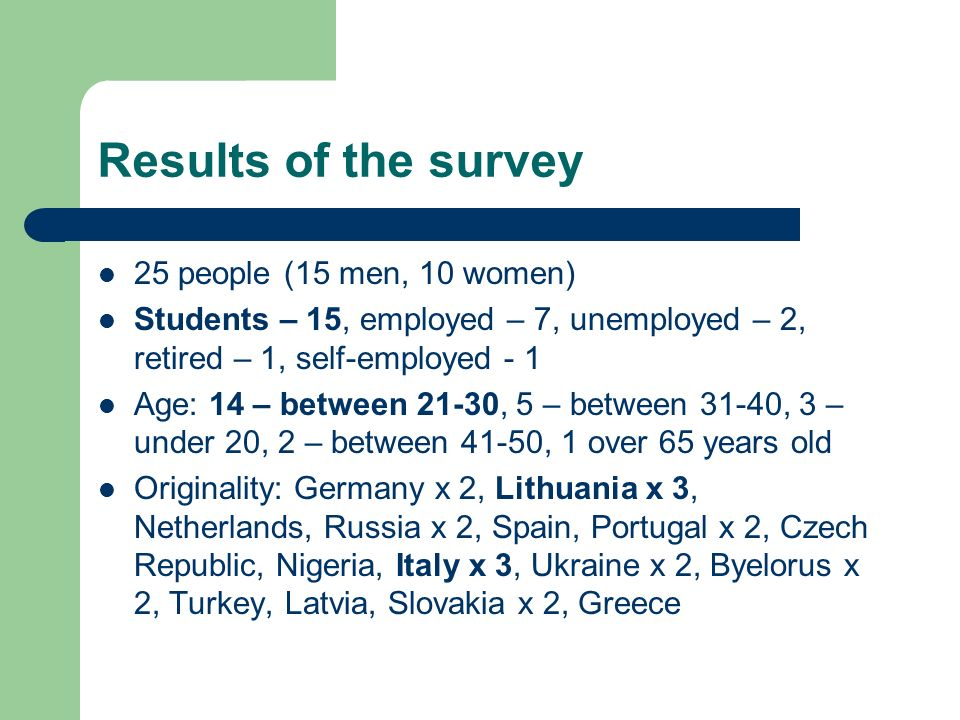 Results of the survey 25 people (15 men, 10 women) Students – 15, employed – 7, unemployed – 2, retired – 1, self-employed - 1 Age: 14 – between 21-30, 5 – between 31-40, 3 – under 20, 2 – between 41-50, 1 over 65 years old Originality: Germany x 2, Lithuania x 3, Netherlands, Russia x 2, Spain, Portugal x 2, Czech Republic, Nigeria, Italy x 3, Ukraine x 2, Byelorus x 2, Turkey, Latvia, Slovakia x 2, Greece