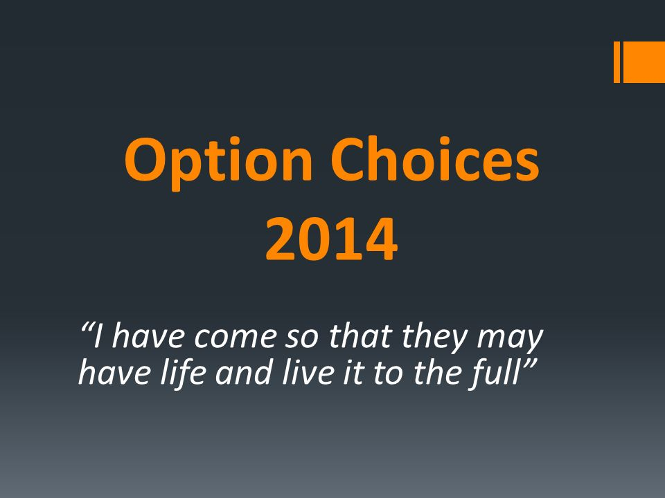 Option Choices 2014 I have come so that they may have life and live it to the full