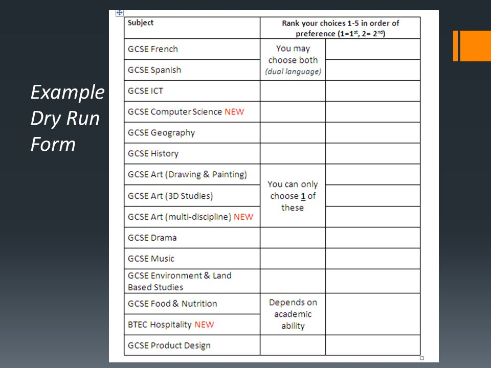 Example Dry Run Form