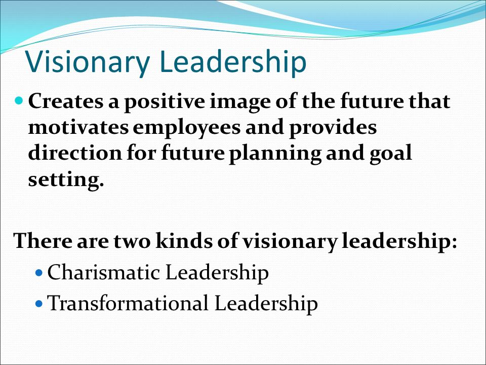 Visionary Leadership Creates a positive image of the future that motivates employees and provides direction for future planning and goal setting.