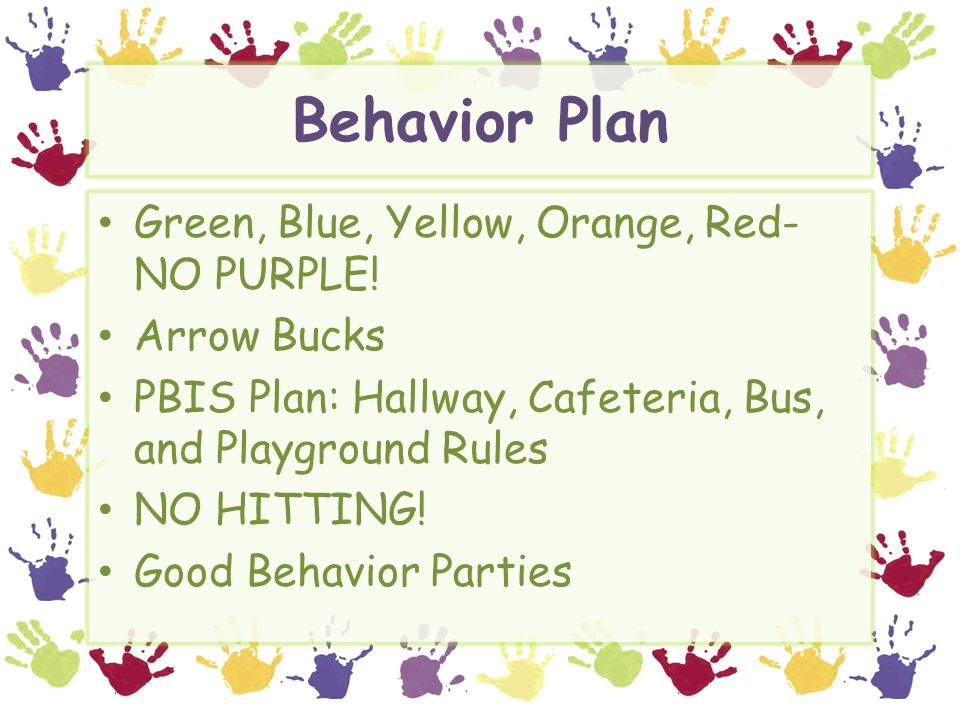 Behavior Plan Green, Blue, Yellow, Orange, Red- NO PURPLE.