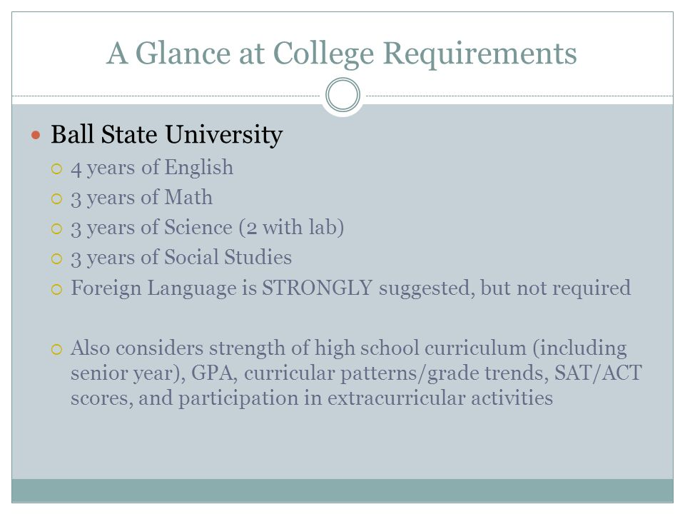 A Glance at College Requirements Ball State University  4 years of English  3 years of Math  3 years of Science (2 with lab)  3 years of Social Studies  Foreign Language is STRONGLY suggested, but not required  Also considers strength of high school curriculum (including senior year), GPA, curricular patterns/grade trends, SAT/ACT scores, and participation in extracurricular activities