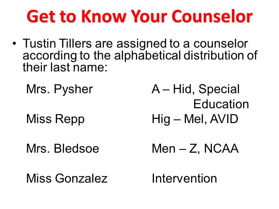 Get to Know Your Counselor Tustin Tillers are assigned to a counselor according to the alphabetical distribution of their last name: Mrs.