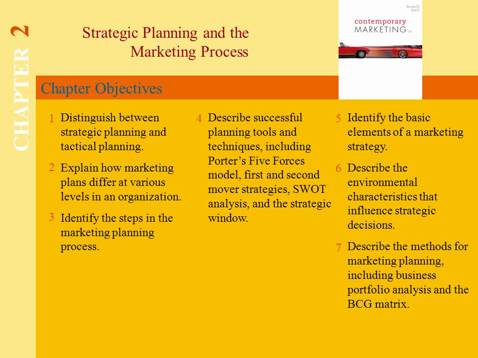 Chapter Objectives Strategic Planning and the Marketing Process CHAPTER Distinguish between strategic planning and tactical planning.