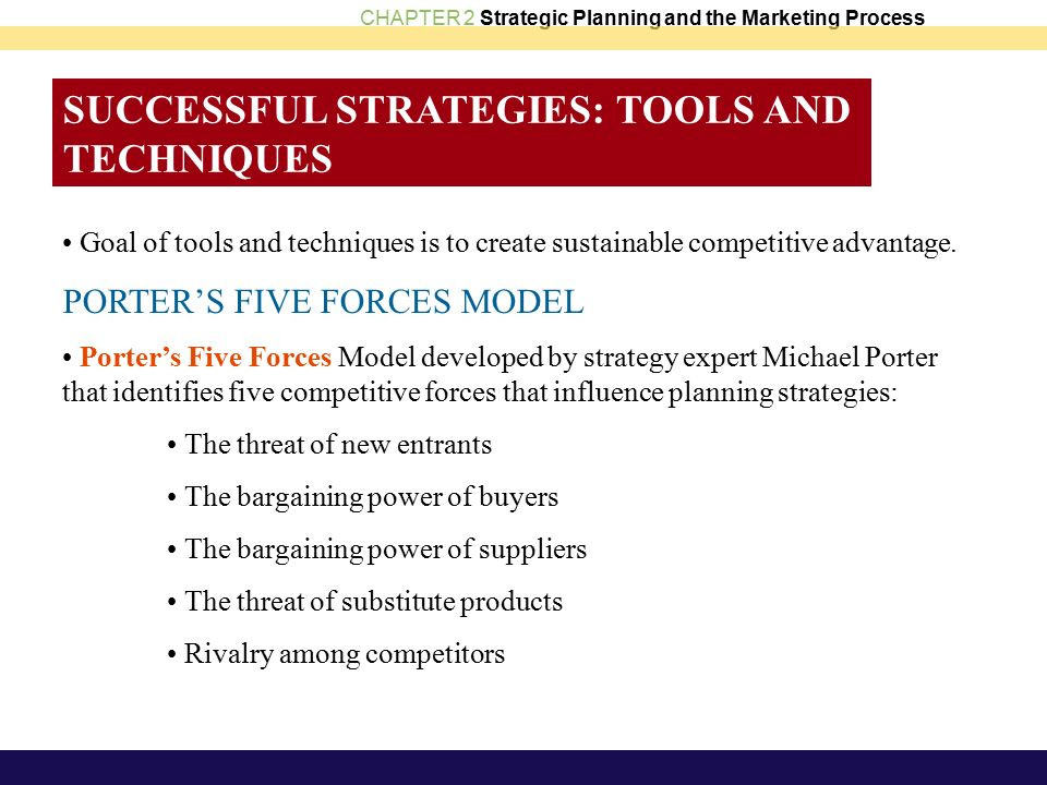 CHAPTER 2 Strategic Planning and the Marketing Process SUCCESSFUL STRATEGIES: TOOLS AND TECHNIQUES Goal of tools and techniques is to create sustainable competitive advantage.