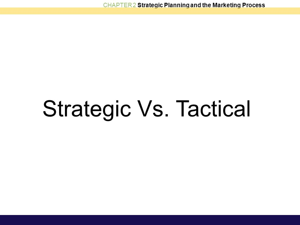 CHAPTER 2 Strategic Planning and the Marketing Process Strategic Vs. Tactical