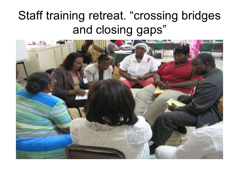 Staff training retreat. crossing bridges and closing gaps