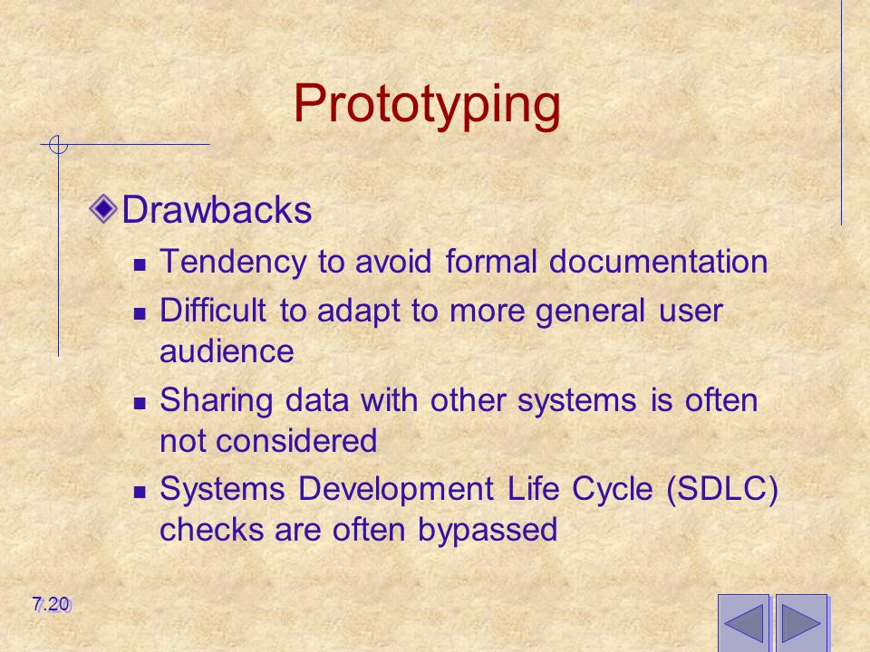 Prototyping Drawbacks Tendency to avoid formal documentation Difficult to adapt to more general user audience Sharing data with other systems is often not considered Systems Development Life Cycle (SDLC) checks are often bypassed 7.20