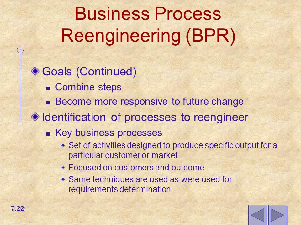 Business Process Reengineering (BPR) Goals (Continued) Combine steps Become more responsive to future change Identification of processes to reengineer Key business processes  Set of activities designed to produce specific output for a particular customer or market  Focused on customers and outcome  Same techniques are used as were used for requirements determination 7.22