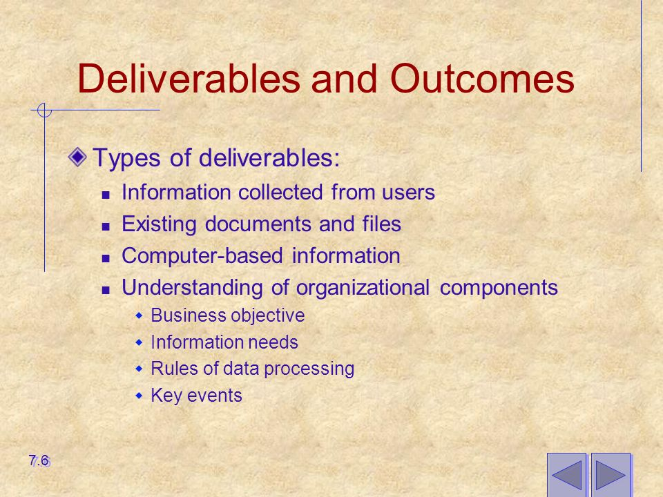 Deliverables and Outcomes Types of deliverables: Information collected from users Existing documents and files Computer-based information Understanding of organizational components  Business objective  Information needs  Rules of data processing  Key events 7.6