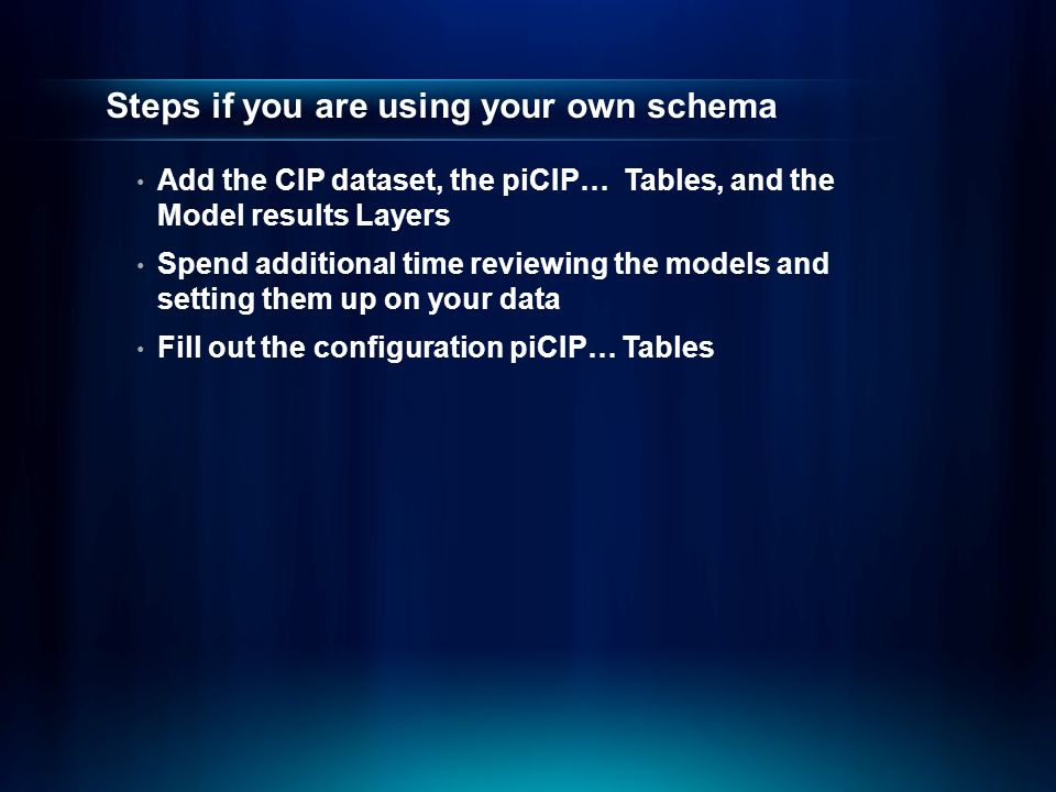 Steps if you are using your own schema Add the CIP dataset, the piCIP… Tables, and the Model results Layers Spend additional time reviewing the models and setting them up on your data Fill out the configuration piCIP… Tables