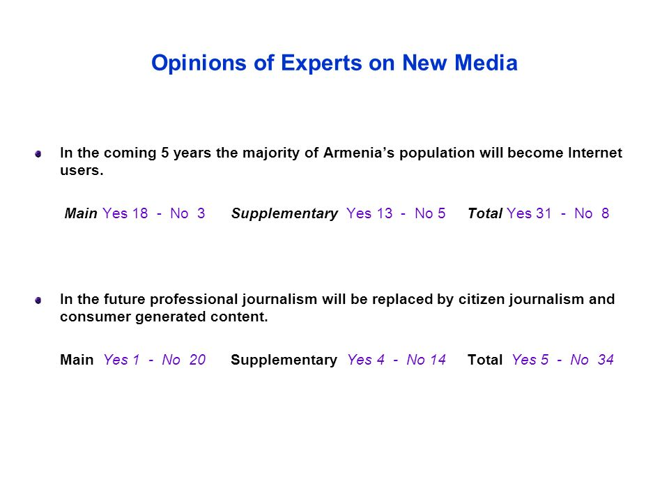 Opinions of Experts on New Media In the coming 5 years the majority of Armenia's population will become Internet users.