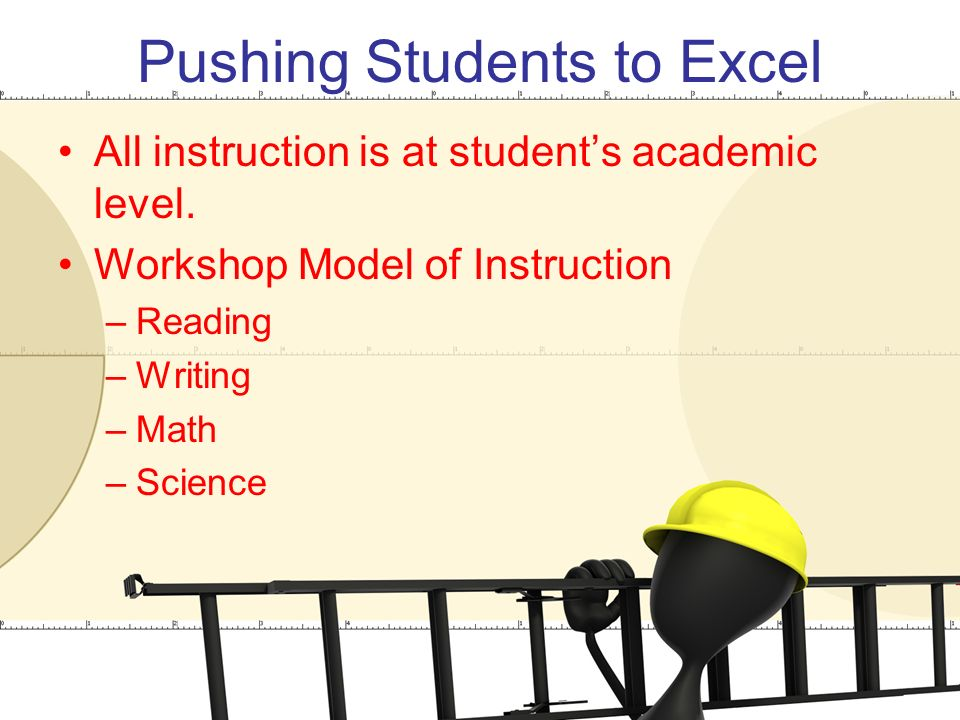 Pushing Students to Excel All instruction is at student's academic level.