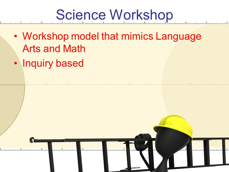 Science Workshop Workshop model that mimics Language Arts and Math Inquiry based