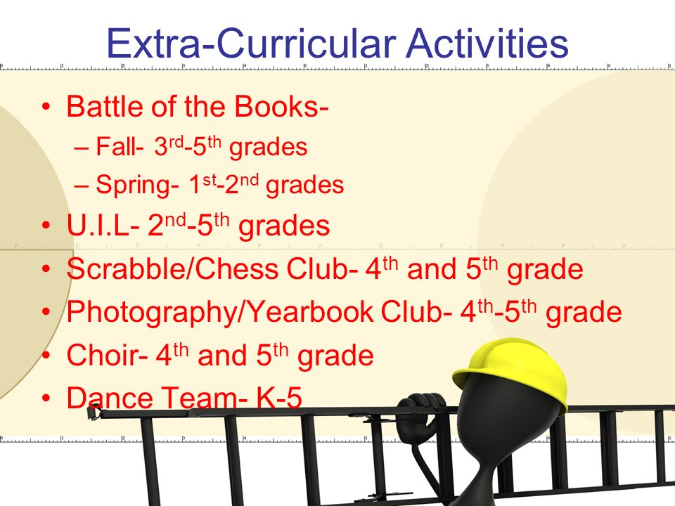 Extra-Curricular Activities Battle of the Books- –Fall- 3 rd -5 th grades –Spring- 1 st -2 nd grades U.I.L- 2 nd -5 th grades Scrabble/Chess Club- 4 th and 5 th grade Photography/Yearbook Club- 4 th -5 th grade Choir- 4 th and 5 th grade Dance Team- K-5
