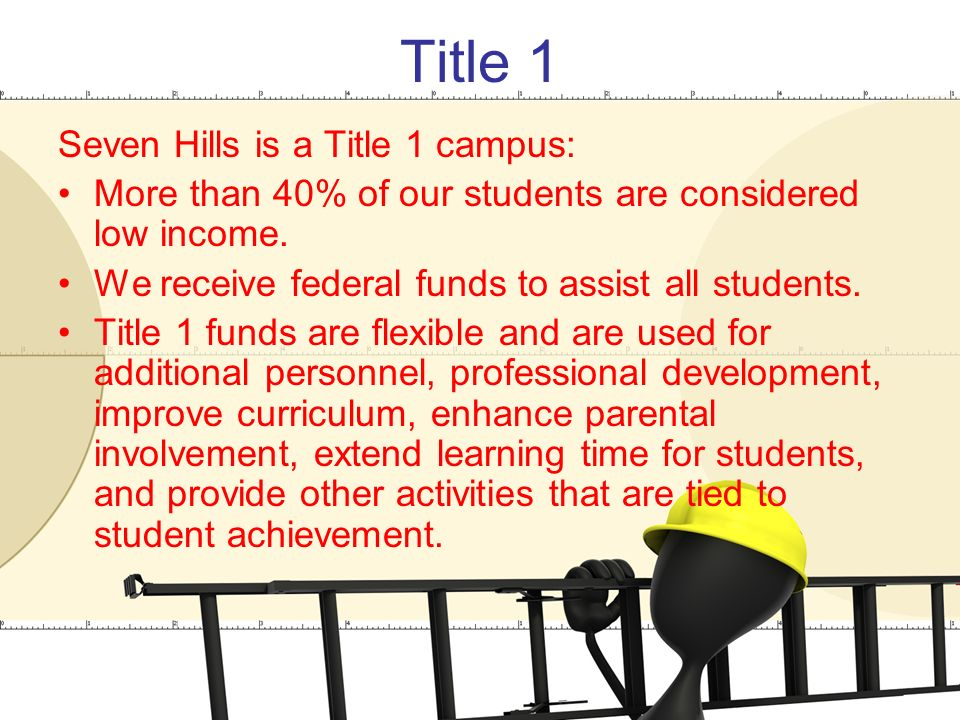 Title 1 Seven Hills is a Title 1 campus: More than 40% of our students are considered low income.