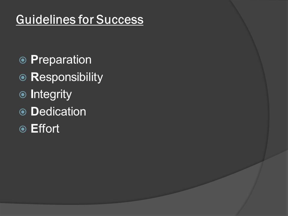 Guidelines for Success  Preparation  Responsibility  Integrity  Dedication  Effort