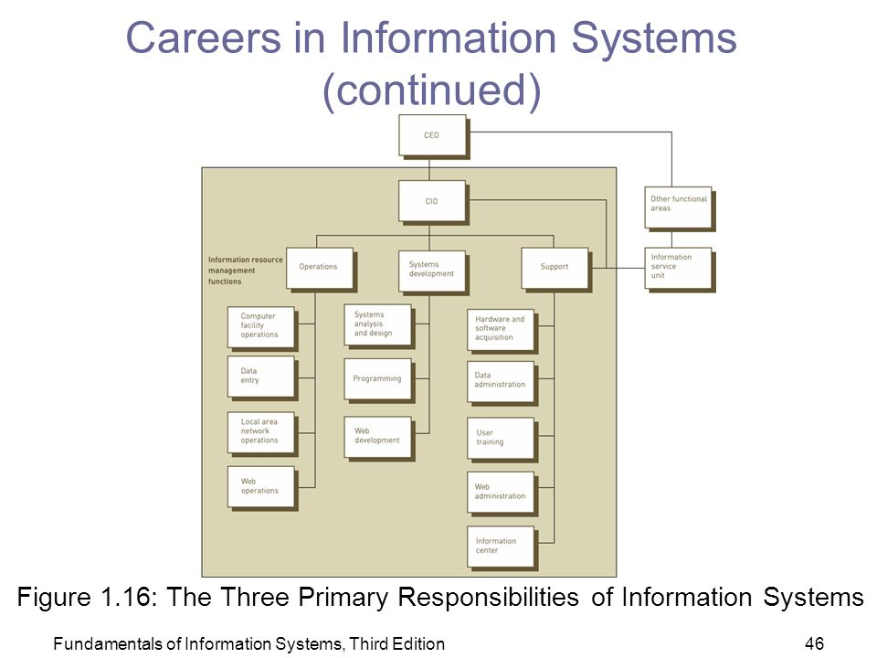 Fundamentals of Information Systems, Third Edition46 Careers in Information Systems (continued) Figure 1.16: The Three Primary Responsibilities of Information Systems