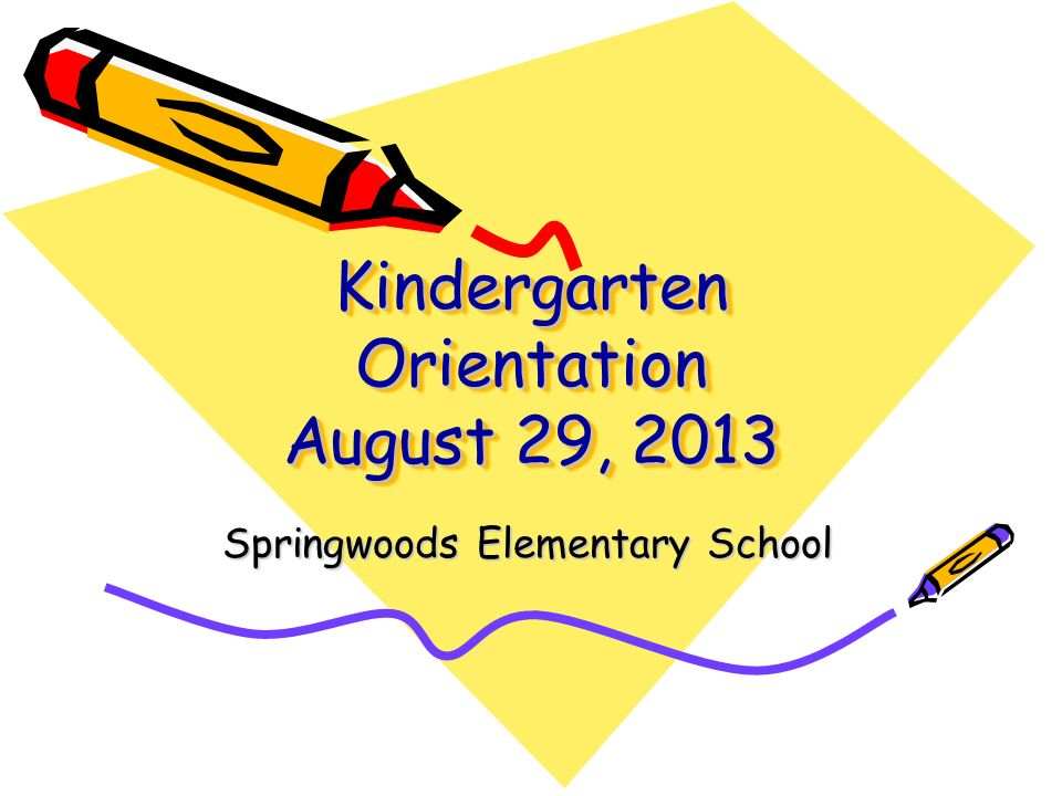 Kindergarten Orientation August 29, 2013 Springwoods Elementary School