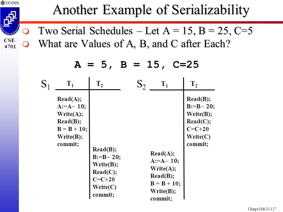 Chaps19&20-127 CSE 4701 Another Example of Serializability  Two Serial Schedules – Let A = 15, B = 25, C=5  What are Values of A, B, and C after Each.