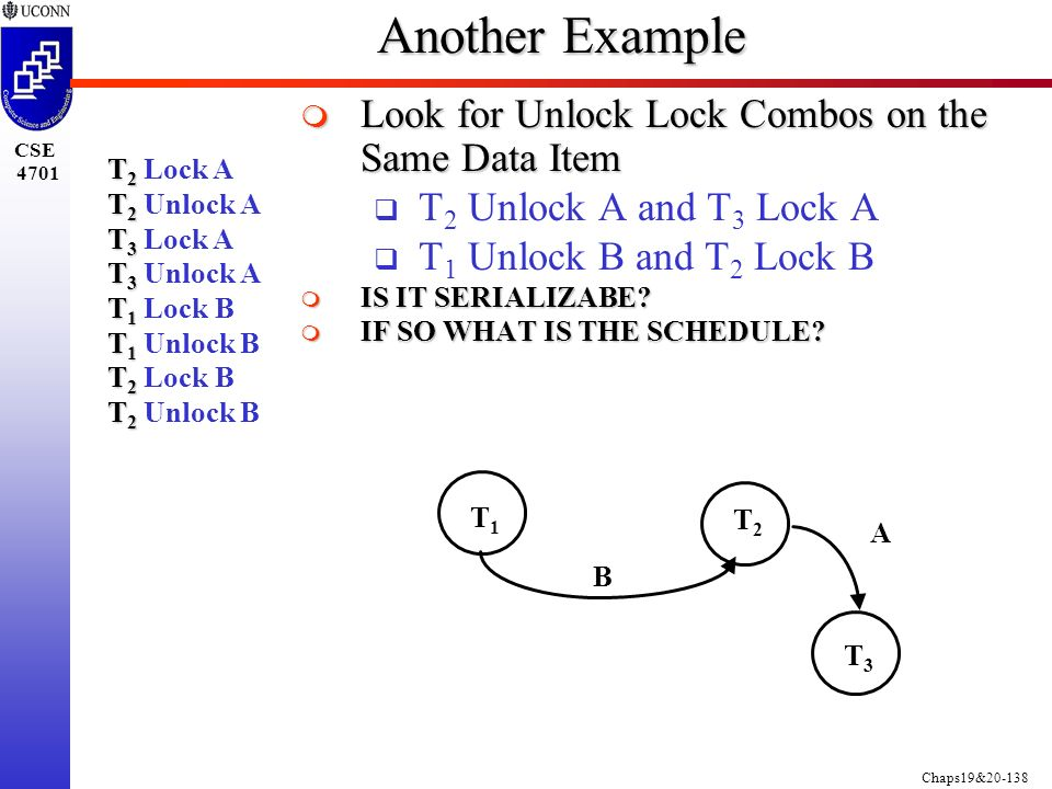 Chaps19&20-138 CSE 4701 T 2 T 2 Lock A T 2 T 2 Unlock A T 3 T 3 Lock A T 3 T 3 Unlock A T 1 T 1 Lock B T 1 T 1 Unlock B T 2 T 2 Lock B T 2 T 2 Unlock B Another Example  Look for Unlock Lock Combos on the Same Data Item  T 2 Unlock A and T 3 Lock A  T 1 Unlock B and T 2 Lock B  IS IT SERIALIZABE.