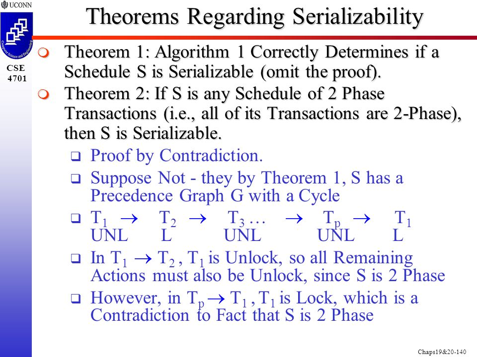 Chaps19&20-140 CSE 4701 Theorems Regarding Serializability  Theorem 1: Algorithm 1 Correctly Determines if a Schedule S is Serializable (omit the proof).