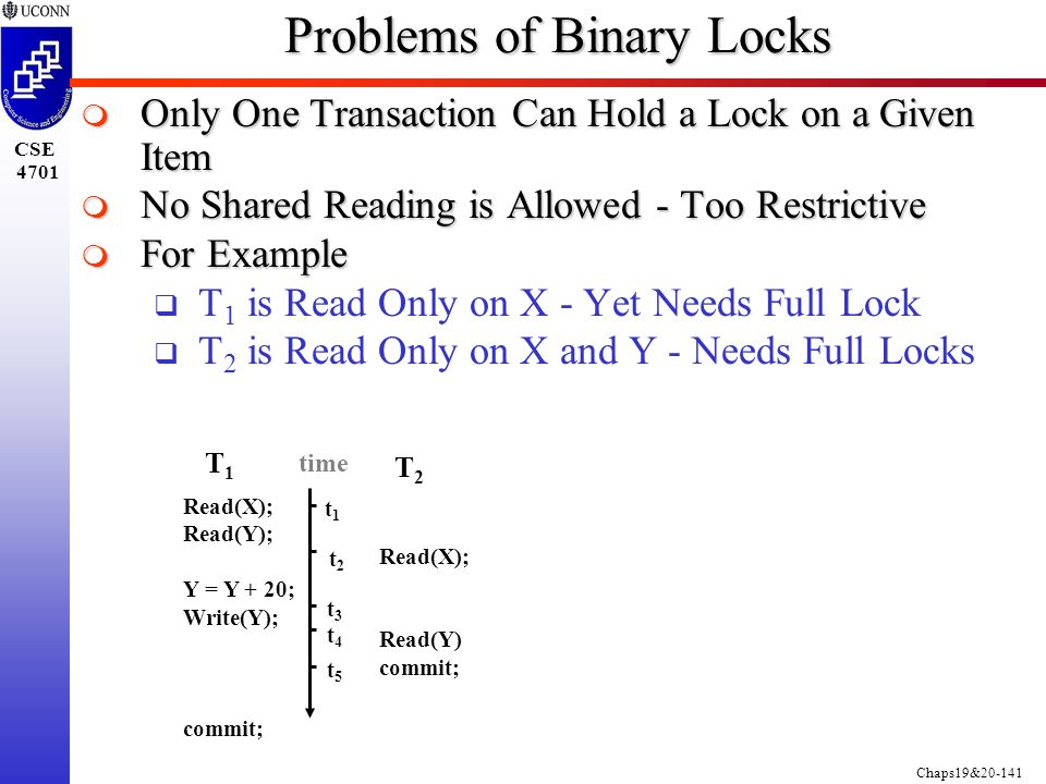 Chaps19&20-141 CSE 4701 Problems of Binary Locks  Only One Transaction Can Hold a Lock on a Given Item  No Shared Reading is Allowed - Too Restrictive  For Example  T 1 is Read Only on X - Yet Needs Full Lock  T 2 is Read Only on X and Y - Needs Full Locks T1T1 T2T2 Read(X); Read(Y) commit; time Read(X); Read(Y); Y = Y + 20; Write(Y); commit; t1t1 t2t2 t3t3 t4t4 t5t5