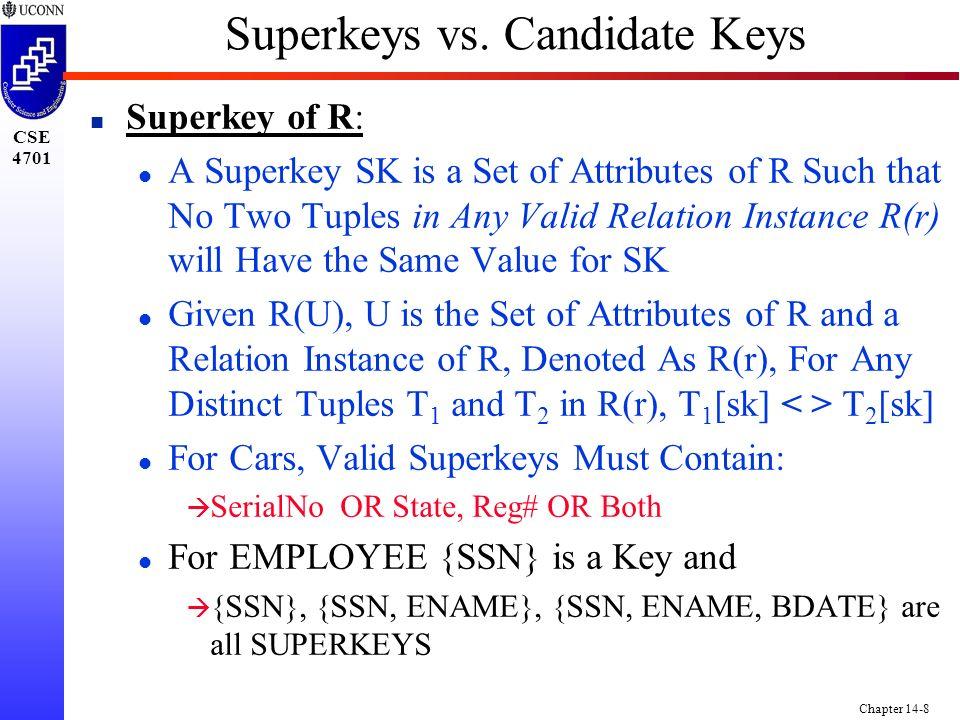 CSE 4701 Chapter 14-8 Superkeys vs.