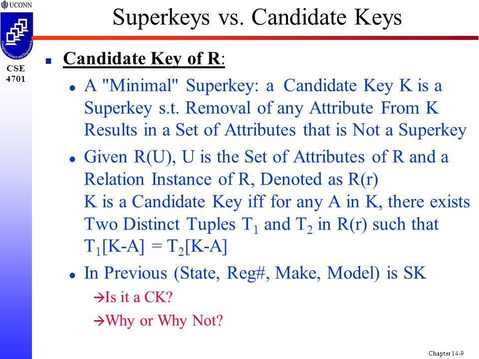 CSE 4701 Chapter 14-9 Superkeys vs.