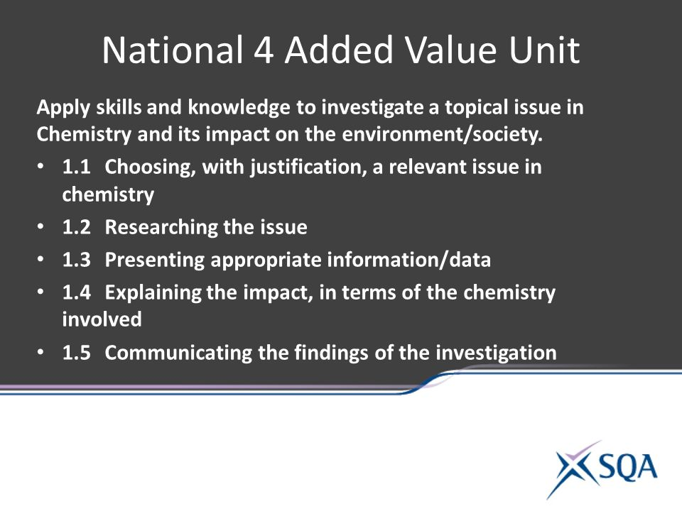 National 4 Added Value Unit Apply skills and knowledge to investigate a topical issue in Chemistry and its impact on the environment/society.