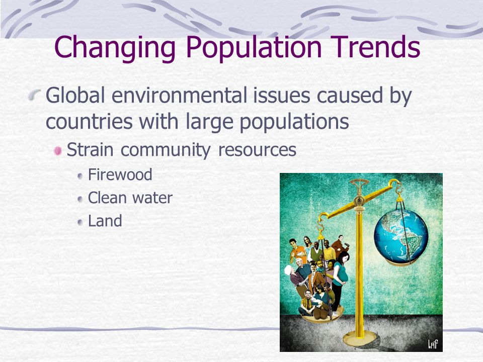 Changing Population Trends Global environmental issues caused by countries with large populations Strain community resources Firewood Clean water Land