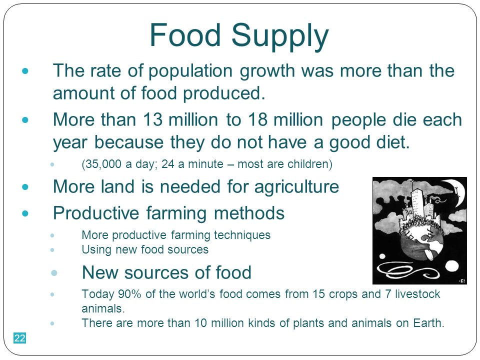 22 Food Supply The rate of population growth was more than the amount of food produced.