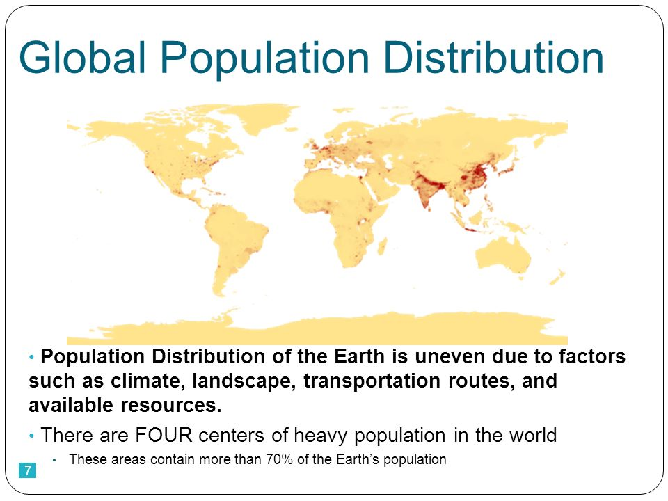 7 Global Population Distribution Population Distribution of the Earth is uneven due to factors such as climate, landscape, transportation routes, and available resources.