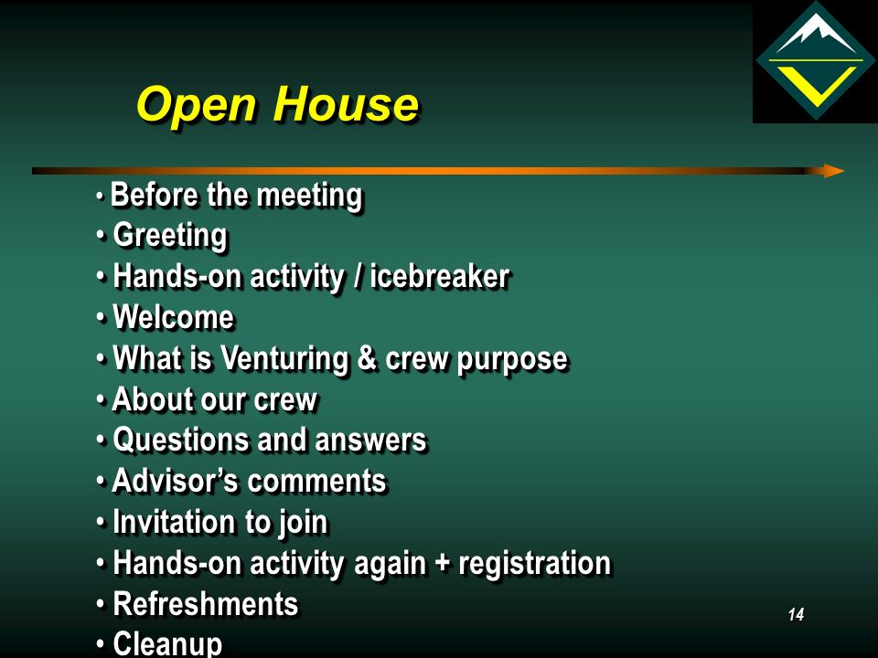 14 Open House Before the meeting Greeting Greeting Hands-on activity / icebreaker Hands-on activity / icebreaker Welcome Welcome What is Venturing & crew purpose What is Venturing & crew purpose About our crew About our crew Questions and answers Questions and answers Advisor's comments Advisor's comments Invitation to join Invitation to join Hands-on activity again + registration Hands-on activity again + registration Refreshments Refreshments Cleanup Cleanup Before the meeting Greeting Greeting Hands-on activity / icebreaker Hands-on activity / icebreaker Welcome Welcome What is Venturing & crew purpose What is Venturing & crew purpose About our crew About our crew Questions and answers Questions and answers Advisor's comments Advisor's comments Invitation to join Invitation to join Hands-on activity again + registration Hands-on activity again + registration Refreshments Refreshments Cleanup Cleanup