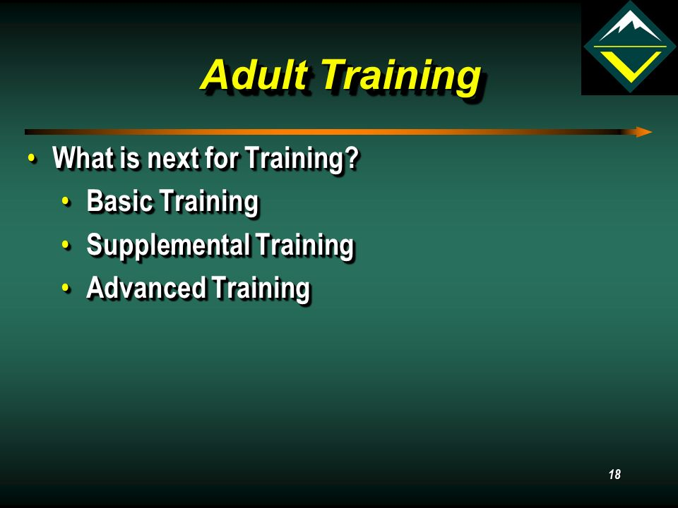 Adult Training What is next for Training. What is next for Training.